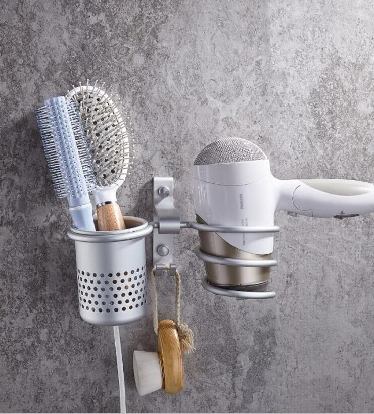 Posepop 7 Kind Multi Function Bathroom Hair Dryer Holder Wall Mount Rack E Aluminum Shelf
