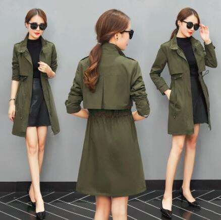 Trench   Coat for Women 2018 Casual Slim Sashes Zipper Coat Women Cotton Army Green Overcoat Manteau Femme