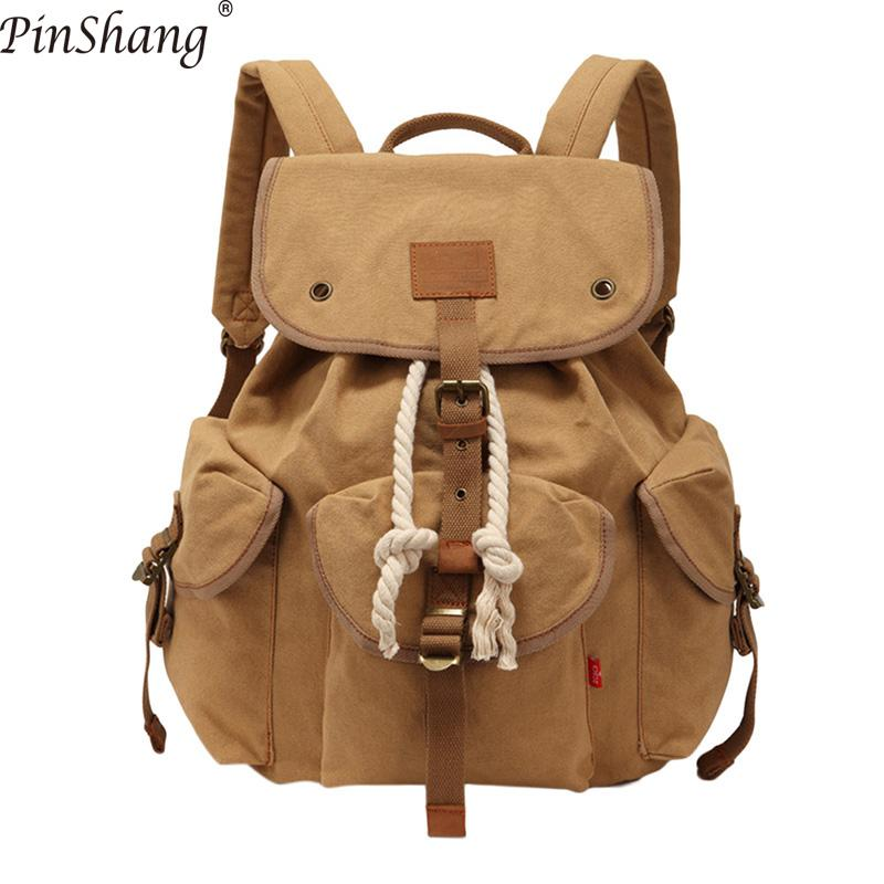 PinShang Unisex Canvas Fashionable Double-shoulder Bag Casual Retro Travel Large Capacity Backpack with Rope Closure ZK50PinShang Unisex Canvas Fashionable Double-shoulder Bag Casual Retro Travel Large Capacity Backpack with Rope Closure ZK50