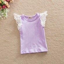 Летняя хлопковая футболка для маленьких детей; топы принцессы с кружевными рукавами для маленьких девочек