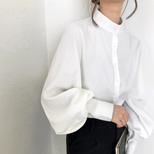 Vintage Stand Collar Lantern Sleeve Women Blouses Tops Single Breasted Blouse Shirt Female Thick Loose Shirts blusas mujer