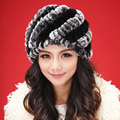 Señora de invierno cálido tejer verdadera piel de conejo boina sombrero / cap