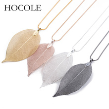 HOCOLE Fashion New Jewelry Maxi Necklace Rose Gold Color Chain Real Leaf Design Necklaces & Pendants Women collier femme Gift