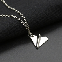 Kolye Sale Real Maxi Necklace Collier Collares 1pcs-n10077 Fashion Origami Plane Tiny Aircraft Airplane Paper Jewelry For Women 2017 real collares qi xuan
