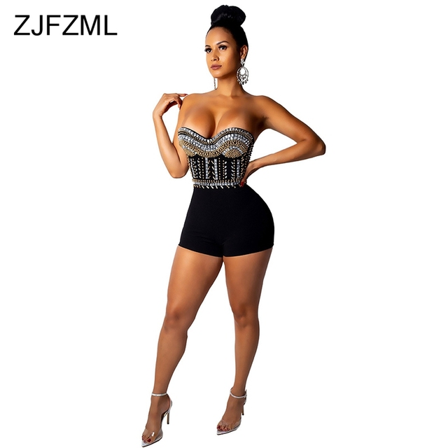 1258b7a5e49 Shiny Rhinestones Sexy Jumpsuits For Women 2018 Strapless Cold Shoulder Club  Party Playsuit Sleeveless Backless Bandage Bodysuit