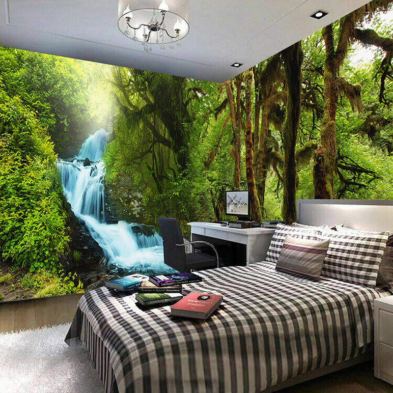 Nature scenery 3d wall mural custom hd hd tropical rain for Nature room wallpaper