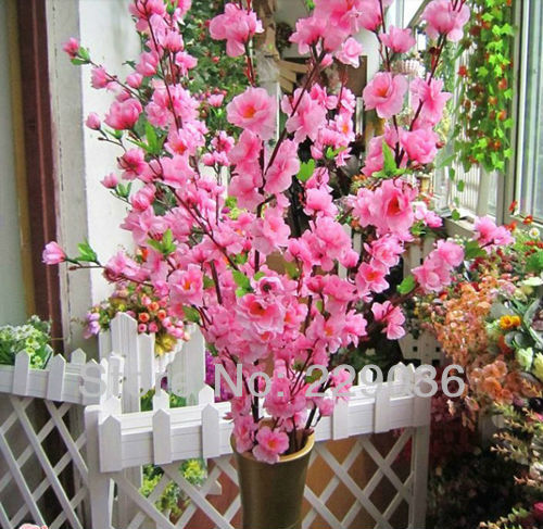 4922 artificial cherry plum spring peach blossom spray branch silk flower tree beautiful home decoration