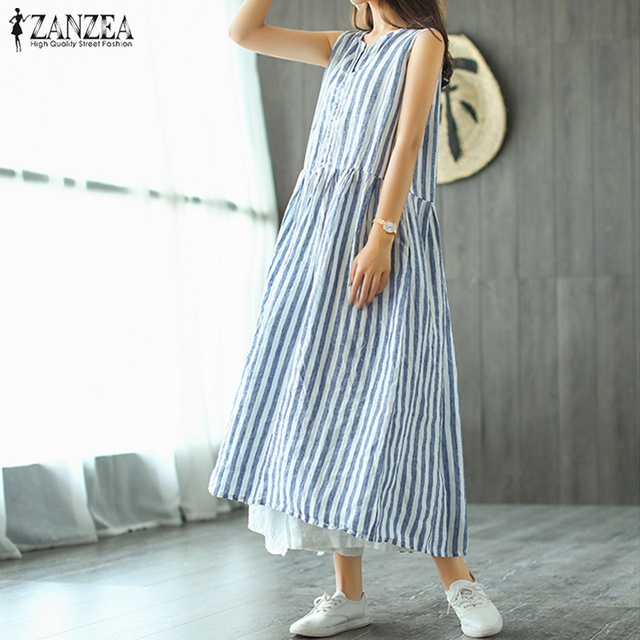 acaee88cd6cad 2018 ZANZEA Women Summer Maxi Long Dress Female Sleeveless V Neck Casaul Dress  Kaftan Pleated Vestido Plus Size Striped Sundress-in Dresses from Women s  ...
