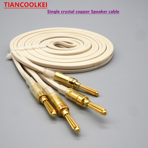 Altavoces de cobre y cristal individuales, 1 par de 2 canales, línea de Audio de 4mm, amplificador de potencia con enchufe banana para conectar el cable del altavoz