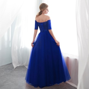 Image 2 - Royal blue Evening Dresses 2019  Long boat neck prom gown Cheap  Half Sleeve Vestido da festa fashionable formal party dress