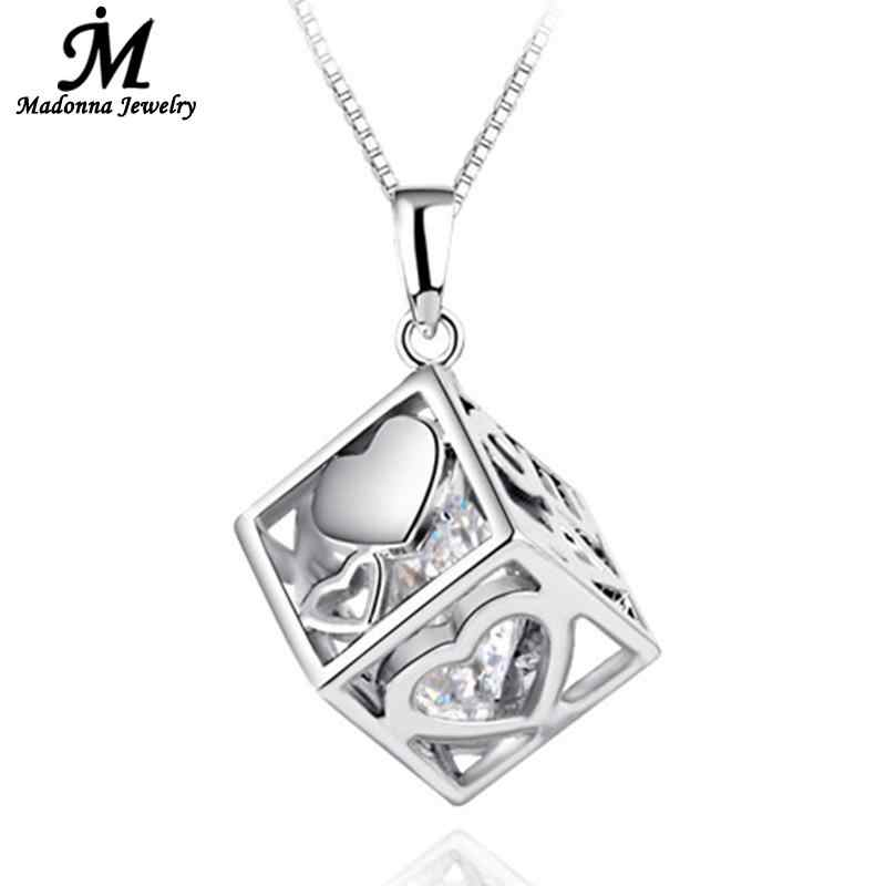 High Quality New Silver Plated Box Pendant Jewelry Surface LOVE Heart Design Cube Window Women Charm Silver Jewelry Wholesale