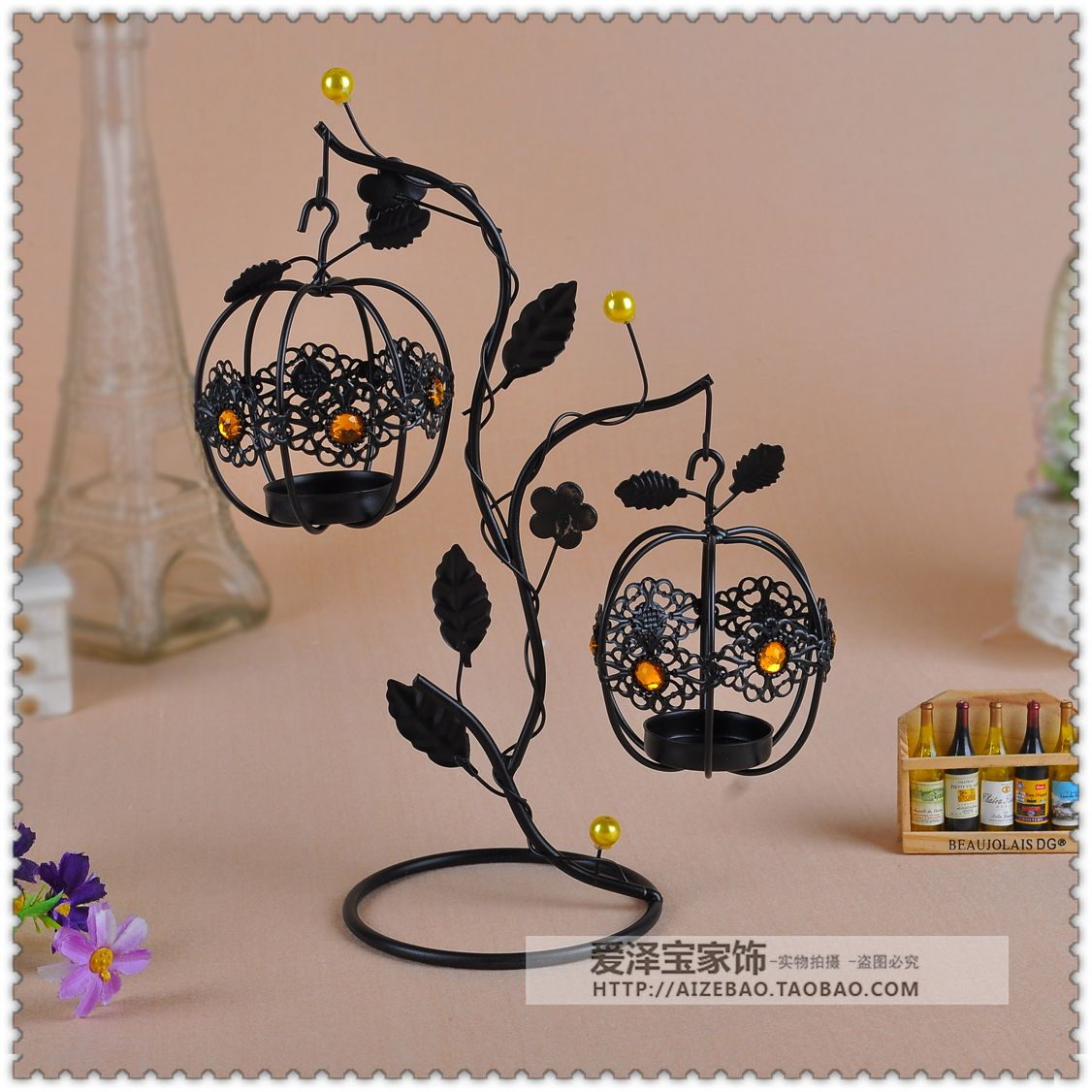Fashion lantern tieyi mousse vintage hanging mousse at both ends new house decoration candle 1