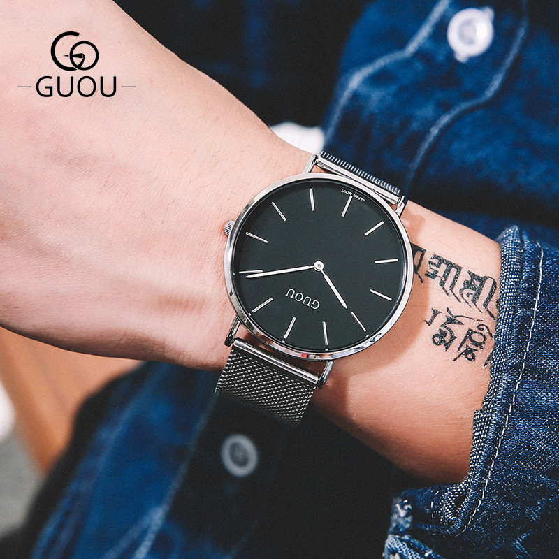 GUOU Simple Ultra Thin Men Watches 43MM Big Dial Rose Gold Mesh Steel Strap Band Minimalist Male Dress Quartz Wristwatch 6003GD 4 colors ultra thin dial men quartz watches chenxi minimalist leather strap watch for men casual simple waterproof wristwatch