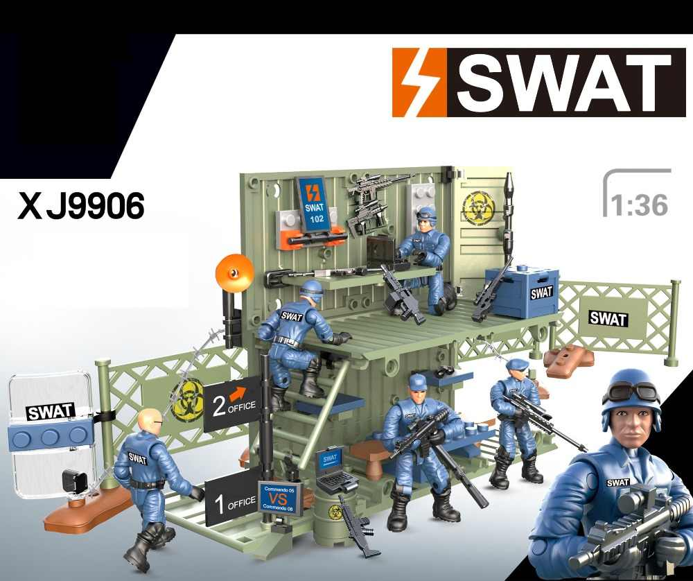 Modern military 4in1 Anti-terrorism Command Center scene sarmy action figures building block swat mega bricks toys for boys gift