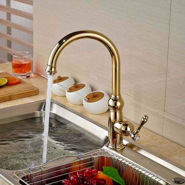 Golden Brass Kitchen Faucet Swivel Spout Vessel Sink Mixer Tap  Hot And Cold Mixer led spout swivel spout kitchen faucet vessel sink mixer tap chrome finish solid brass free shipping hot sale