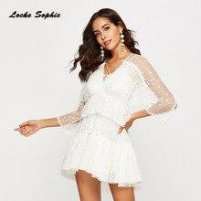 fleepmart fashion 2019 1pcs High waist Ladies Plus size party dresses 2019  Spring Fashion Chiffon irregular hollow White Dress women's Skinny Dress