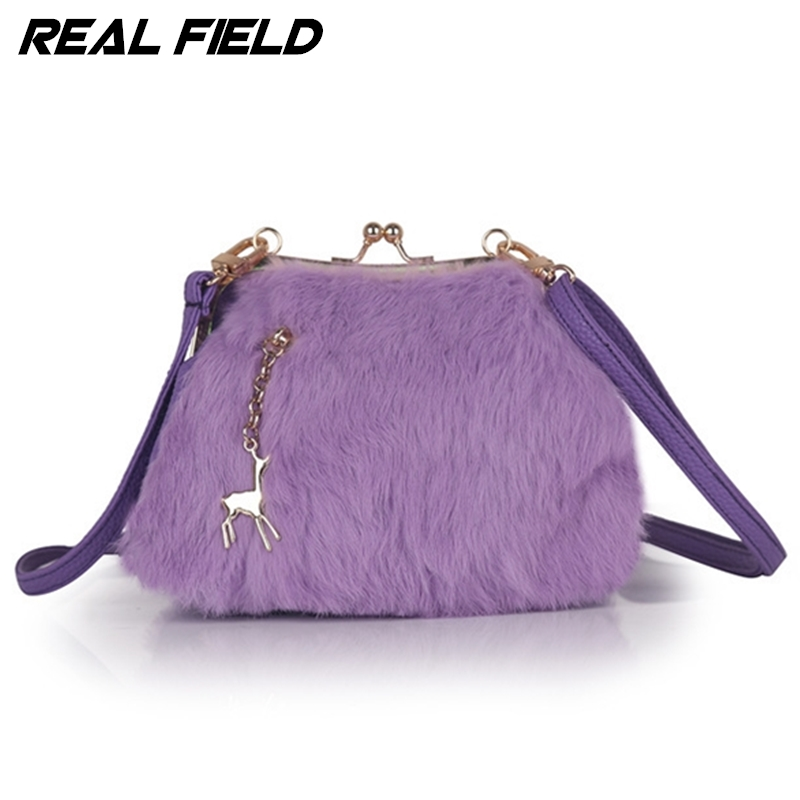 Real Field fashion ladies Frame handbags rabbit women evening bags metal button clutch purses handbags mini crossbody bags 135