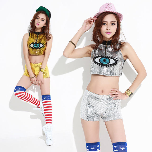 b6f121ad3 Spring summer dance hip hop top female Jazz Gold Silver costume wear Eye  sexy Pullover sequined