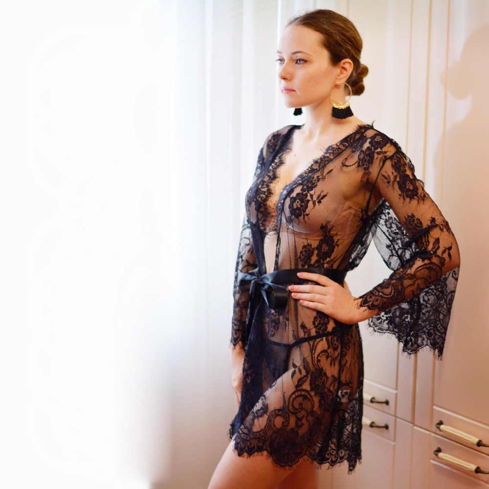 e71fa10efd3 ... Sexy Lingerie Dress Lace Babydoll Women Floral Robe See Through Kimono  Eyelash Nightgown ...