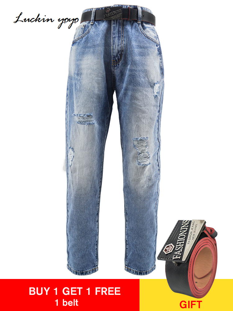 Women's Clothing Jeans Straightforward Luckinyoyo High Waist Fashion Boyfriend Jeans For Women Hole Vintage Girls Ripped Denim Trousers With One Leather Belt To Prevent And Cure Diseases