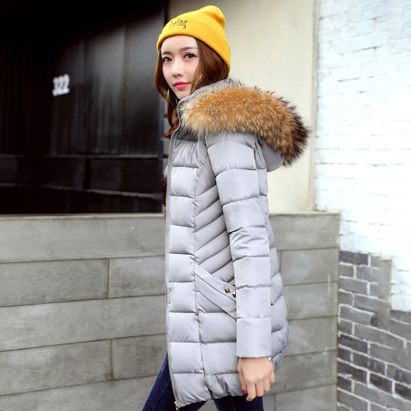 Fur collar hooded long womens coat parka cotton padded outerwear for women winter jacket warm solid jaqueta feminina inverno zoe saldana 2017 winter women coat long cotton jacket fur collar hooded letter print outerwear femme casual parka