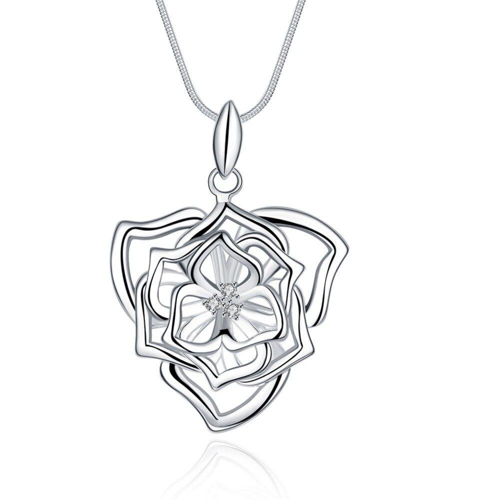 925 серебряные ювелирные изделия колье Прекрасный полые розы кулон с цепи колье ожерелье для женщин модные ювелирные изделия