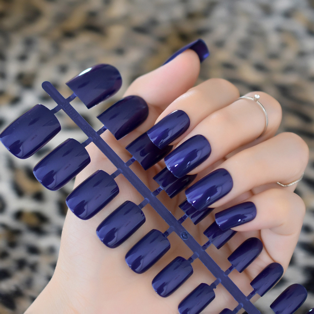 24pcs/kit Dark Blue Artificial Nail Art Medium Size Full Cover ...