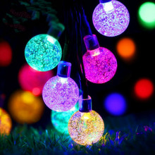 JSEX LED RGB Bubble Ball Lighting String Holiday Waterproof Fairy Lights Christmas Tree Deal Garland Home Decoration