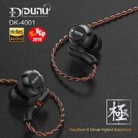 Подлинная Dunu DK 4001 Hi Res Hi Fi наушники Beryllium PVD 5 драйвер гибридные наушники (4 Ноулз Ба + 1DD) гарнитура MMCX DK4001