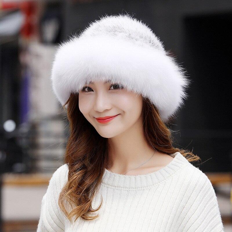 485266 nouvelle mode femmes hiver vison fourrure chapeau renard fourrure tissé chapeau pot cap dôme dames Fedoras