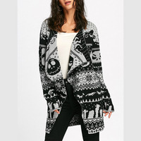 CharMma Halloween Skull Knitting Tunic Cardigans Autumn Winter Women Long Sweaters Open Stitch Knitted Outwear Female