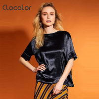 Clocolor Women Blouse Half Sleeve Slim O Neck 2017 New Casual Style Summer Yellow Blue Cheap