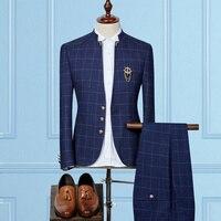 Classic Men's Plaid Suits Size 3XL Slim Design Men Blazer Jacket and Pants, Black, Navy, Men Wedding Suits High Quality