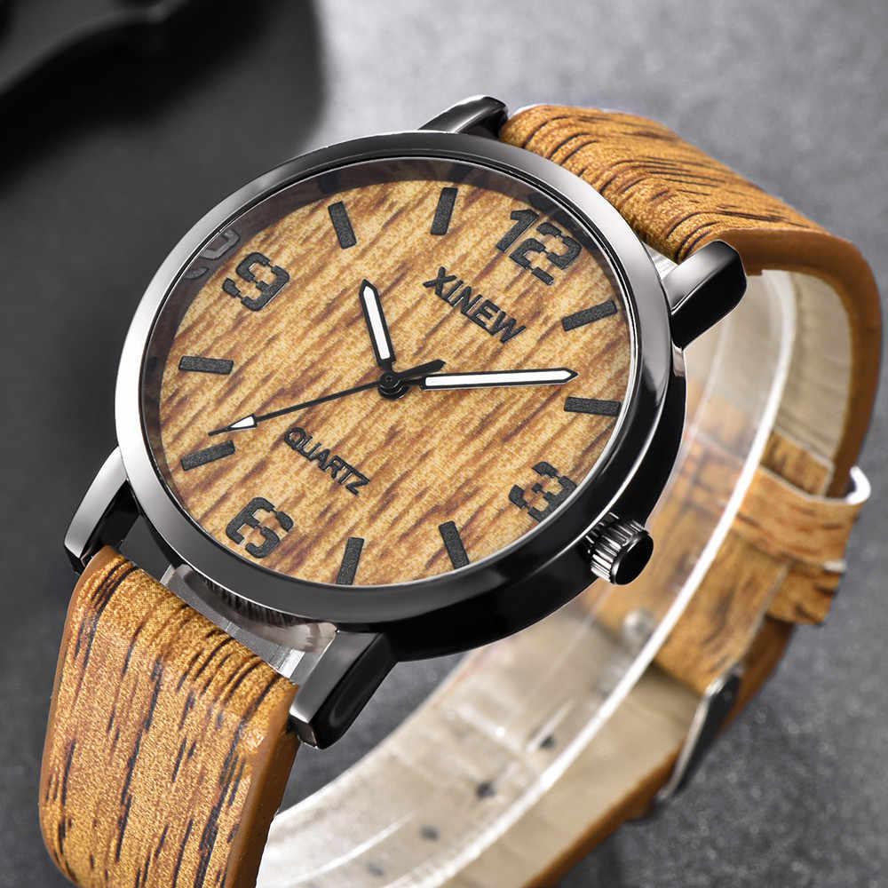 Reloj de hombre XINEW textura de madera imitación de madera Retro de cuero de cuarzo reloj masculino