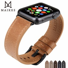 MAIKES Genuine Leather Watch Strap For Apple Watch 42mm 38mm Series 4 3 2 1 iWatch Replacement For Apple Watch Band 44mm 40mm leather band for apple watch 40mm 44mm series 4 high quality mixed color replacement strap for iwatch series 1&2&3 38mm 42mm