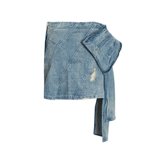 Image 4 - TWOTWINSTYLE Summer Denim Skirt For Women High Waist Bowknot Slim Mini Asymmetrical Skirts Female Fashion Clothes 2020 New
