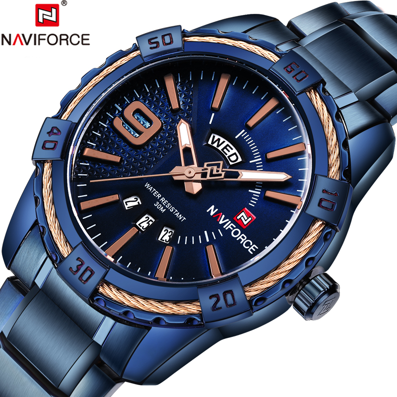 Top Brand NAVIFORCE Luxury Men Fashion Sports Watches Men's Quartz Date Clock Man Stainless Steel Wrist Watch Relogio Masculino fashion watch top brand oktime luxury watches men stainless steel strap quartz watch ultra thin dial clock man relogio masculino