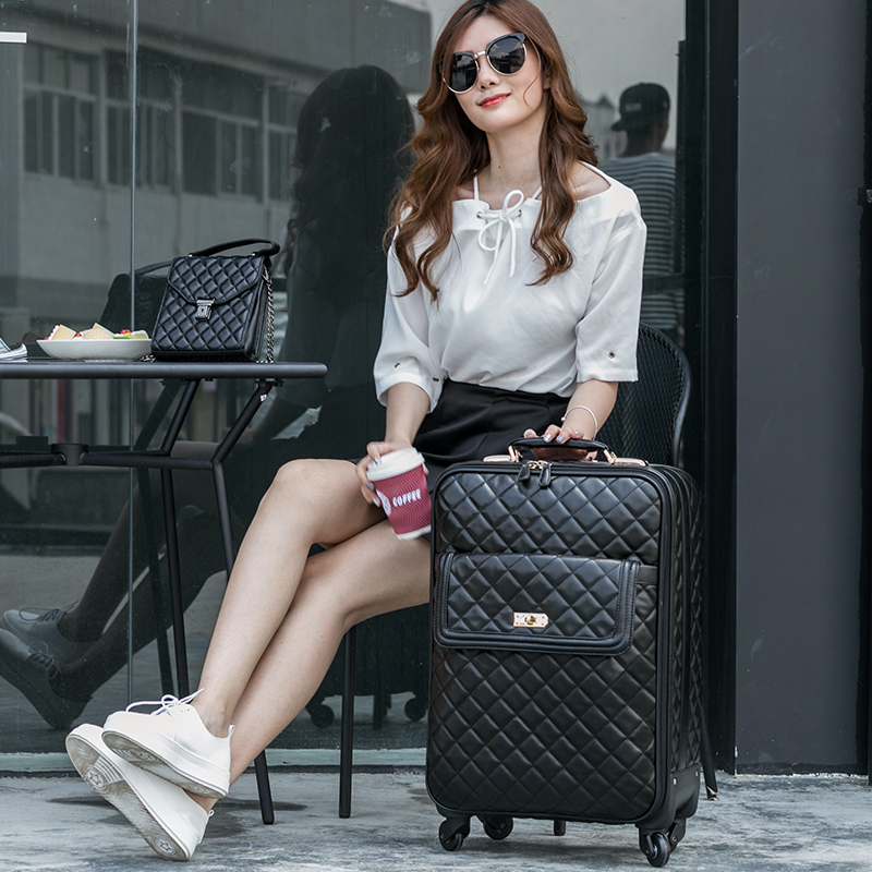 Euro fashion black universal wheels trolley luggage female password box16 20 24 luggage suitcase travel font