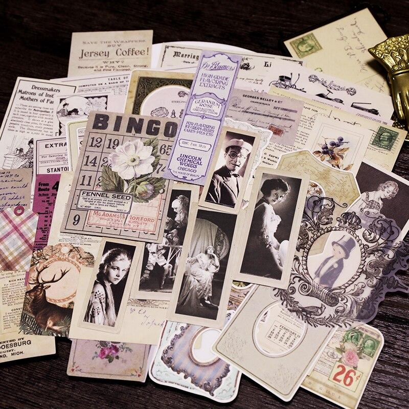 KSCRAFT 70pcs Vintage Design Paper Stickers for ...