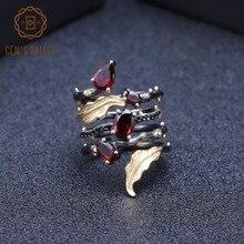 BALLET des gemmes, bague en pierres précieuses de grenat rouge naturel, bague Vintage en argent Sterling 925, bague pour les doigts en feuille pour femmes, bijoux fins, 2,75 ct