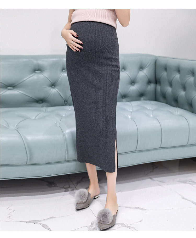 2019 Elastic Waist Belly Pregnant Women Spring Autumn Korean Fashion Maternity Belly Skirts Woolen Knitted Stretch Skirts Bottom