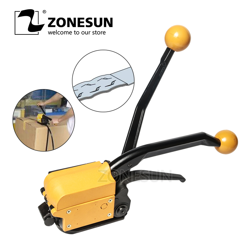 ZONESUN Portable A333 Buckle free Steel Strapping Tool Sealless Combination A333 Steel Strap Tool Manual Box