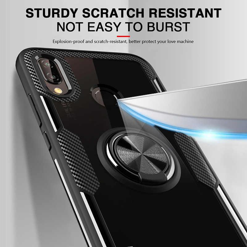 Hybrid สำหรับ Huawei P20 Lite Pro 360 โลหะแม่เหล็กผู้ถือแหวนนิ้วมือนุ่ม TPU ซิลิโคนกันชน Hard ปกหลัง