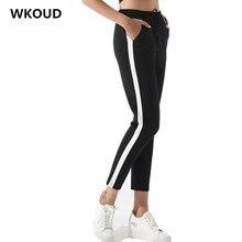 WKOUD Plus Size Black Casual Pants Harem Striped Pa