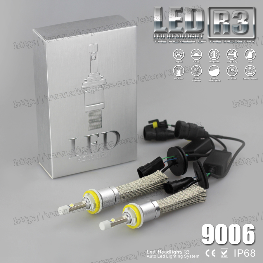 Super Bright 80W R3 9600lm HB4 9006 High Low White 6000K Auto Car LED Headlight Conversion Kit XHP-50 4800lm Bulb