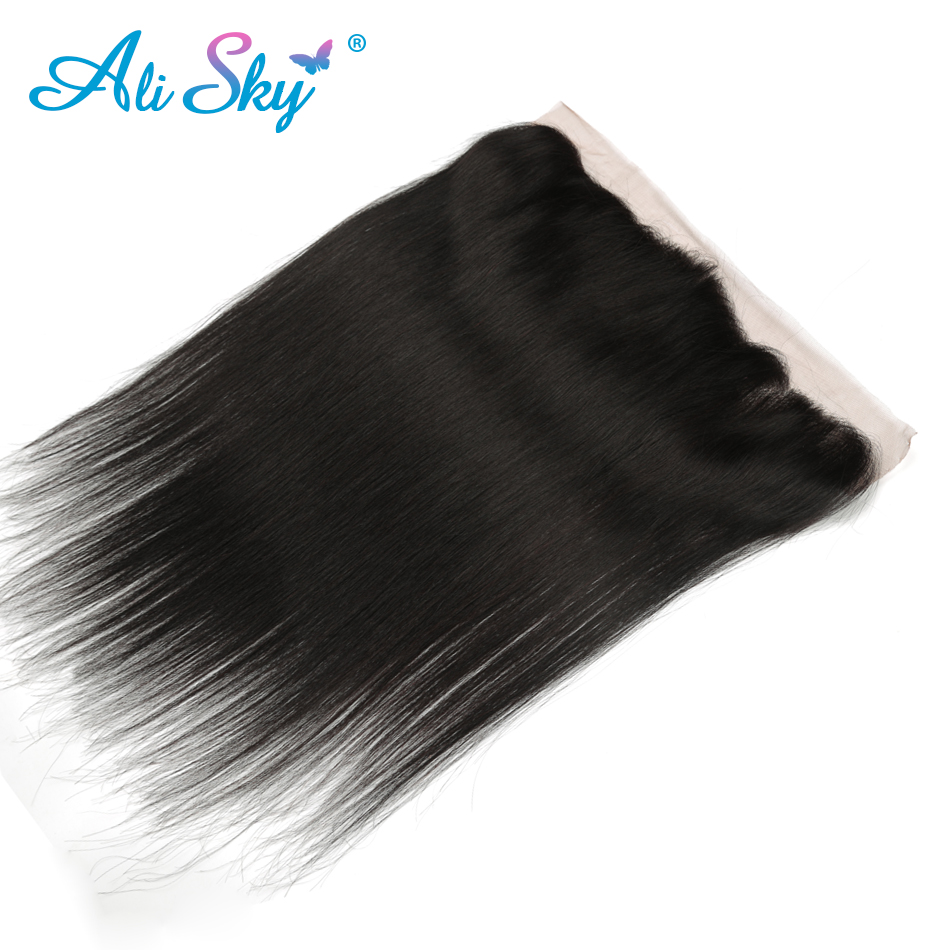 Ali Sky Peruvian Virgin Hair Straight Lace Frontal Closure 13*4 Free Part 100% Human Hair Extensions Free Shipping 8″-20″