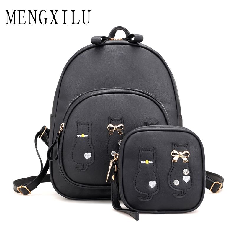 MENGXILU Cute Cat Backpack School Bags For Girls Composite Leather Backpack Women Bow Backpacks And Purse Back Pack Sac A Dos