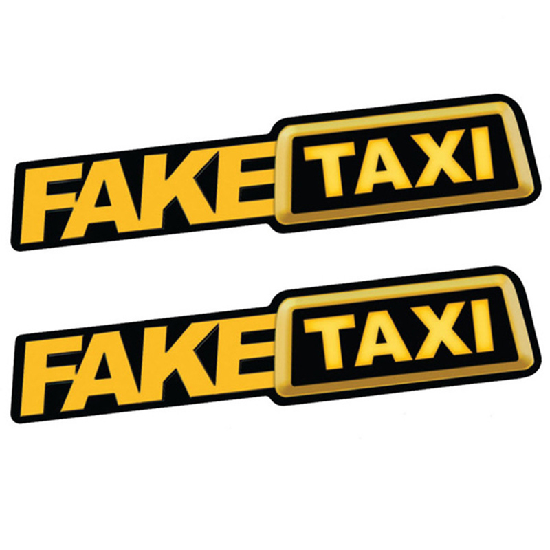 2Pcs FAKE TAXI Car Sticker Decal Emblem Self Adhesive Vinyl Stickers For Car Van Car Styling