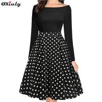 Oxiuly Women Spring Autumn Style Casual Robe Rockabilly 50s Vintage Slash Neck Full Sleeve A line Houndstooth Dresses