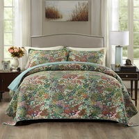 CHAUSUB Flowers Quilt Set Cotton Quilts For Bed Quilted Bedspread 3pcs Washed Bed Cover Sheets Coverlet King Size Green Blanket